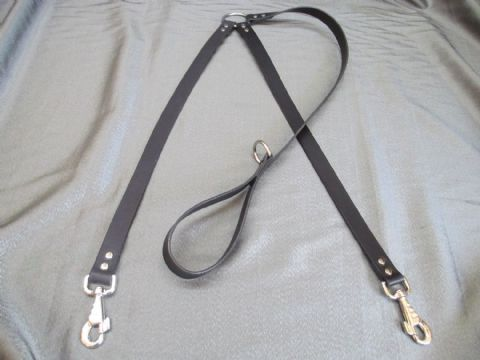 Black Heavy Duty, Genuine Leather Split Double Large Dog Lead